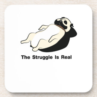 Pug Dog The Struggle Is Real Gym Funny Coaster