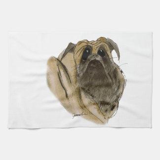 pug dog, tony fernandes hand towel