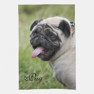 Pug dog towel, cute photo custom kitchen tea towel