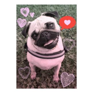 Pug Dog Valentine Invitation