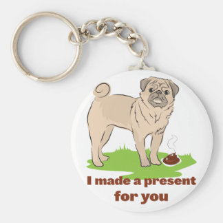 Pug dog with a poo I MADE A PRESENT FOR YOU Basic Round Button Keychain