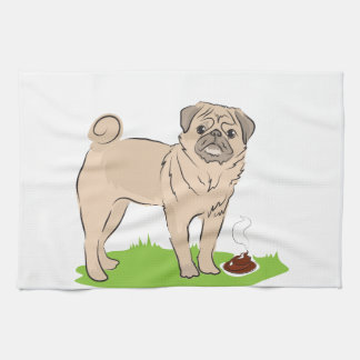 Pug dog with a poo I MADE A PRESENT FOR YOU Hand Towels