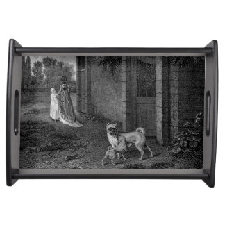 Pug Dogs Black and White Art Serving Tray