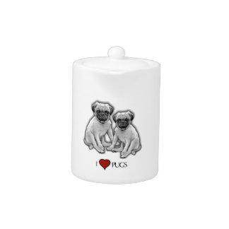 Pug Dogs, I Love Pugs, Pencil Art, Heart