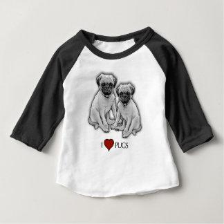 Pug Dogs, I Love Pugs, Pencil Art, Heart Baby T-Shirt