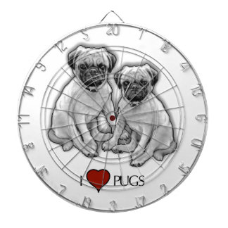 Pug Dogs, I Love Pugs, Pencil Art, Heart Dartboard