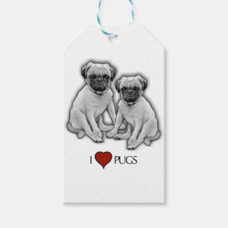 Pug Dogs, I Love Pugs, Pencil Art, Heart Gift Tags
