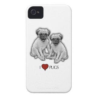 Pug Dogs, I Love Pugs, Pencil Art, Heart iPhone 4 Cover