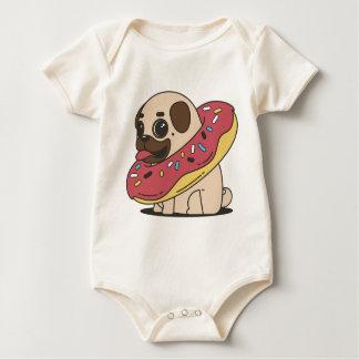 Pug Donut Sweets Tasty Bun Cupcake Baby Bodysuit