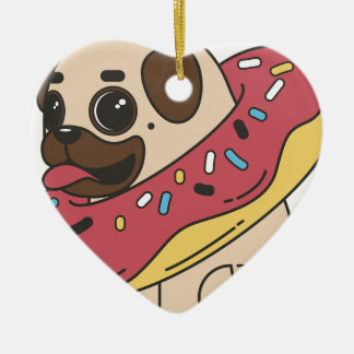Pug Donut Sweets Tasty Bun Cupcake Ceramic Ornament
