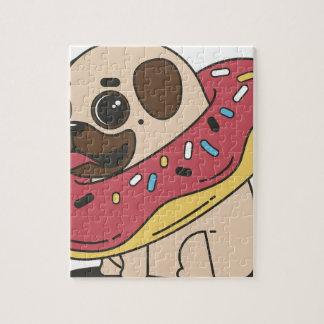 Pug Donut Sweets Tasty Bun Cupcake Jigsaw Puzzle