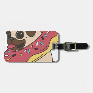 Pug Donut Sweets Tasty Bun Cupcake Luggage Tag