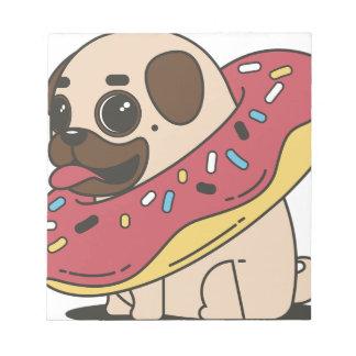 Pug Donut Sweets Tasty Bun Cupcake Notepad