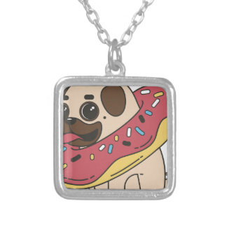 Pug Donut Sweets Tasty Bun Cupcake Silver Plated Necklace
