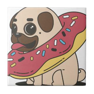 Pug Donut Sweets Tasty Bun Cupcake Tile