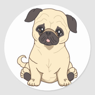 Pug Drawing By Pablo Fernandez Limited Edition Round Stickers