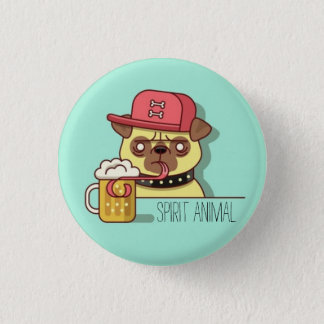 Pug Drinking Beer Spirit Animal Pin