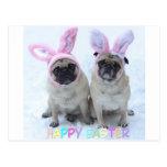 Pug Easter Bunny Postcard