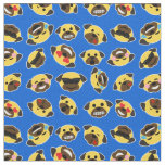 Pug Emoji Emoticon Pattern Fabric