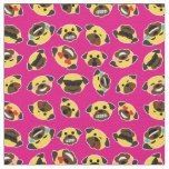 Pug Emoji Emoticon Pattern Fabric Hot Pink