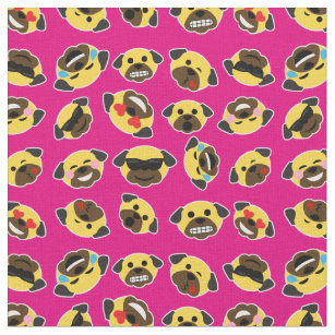 04211e82d2b Pug Emoji Emoticon Pattern Fabric Hot Pink