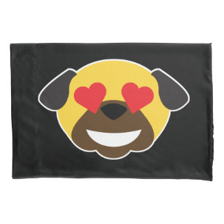 Pug Emoji Emoticon Tears of Joy and Love Bed Pillowcase