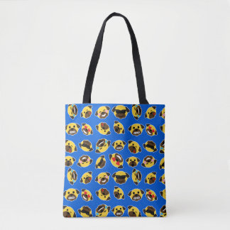 Pug Emojis on Electric Blue Tote Bag