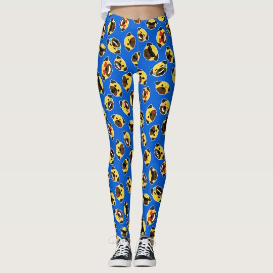 Pug Emoticon Emoji Pattern Love Laugh Kiss Leggings