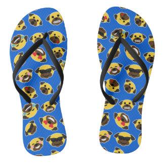 Pug Emoticons Emojis Sandals Flip Flops
