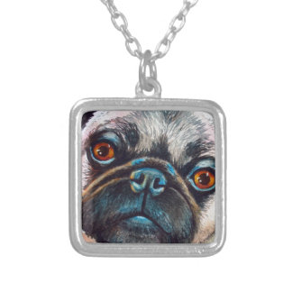 Pug Face Close up Silver Plated Necklace