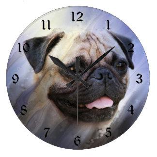 Pug face large clock