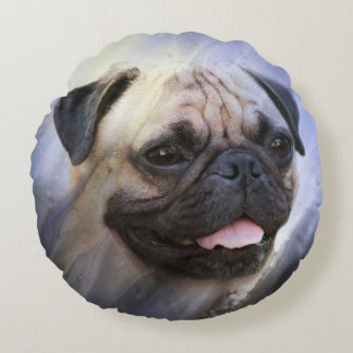 Pug face round pillow