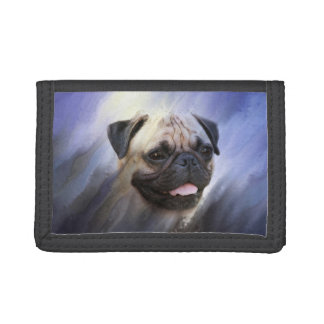 Pug face tri-fold wallet