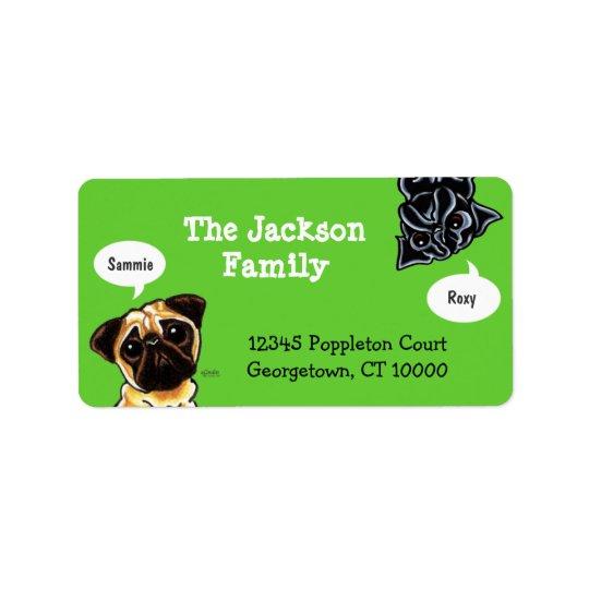 Pug Family Pet Name Personalized Custom Colour Label