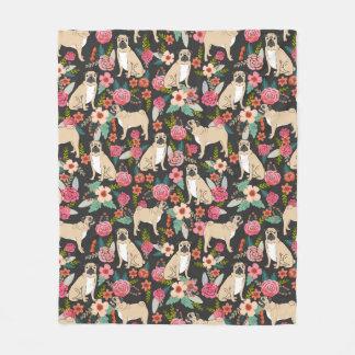 Pug florals blanket - cute pug florals design