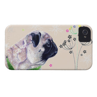 Pug & Flower iPhone 4 Case