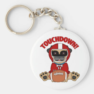 Pug Football Player Touchdown Red Keychain