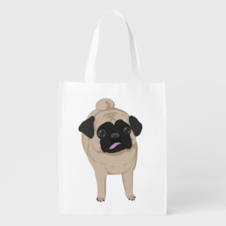 Pug Front and Butt Tote Grocery Bags