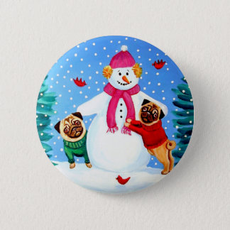 Pug Frosty's Helpers Button