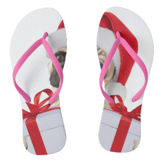Pug gifts - dog claus - funny pugs - funny dogs flip flops