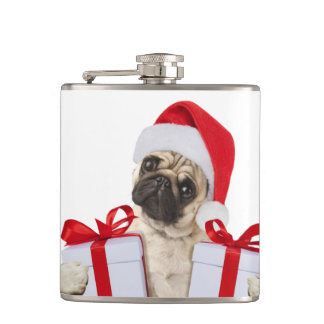 Pug gifts - dog claus - funny pugs - funny dogs hip flask