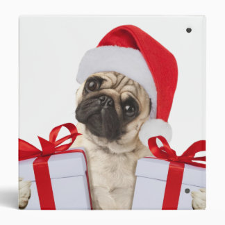 Pug gifts - dog claus - funny pugs - funny dogs vinyl binder