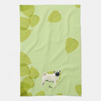 Pug ~ Green Leaves Design Kitchen Towel