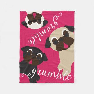 Pug Grumble Fleece Throw Blanket