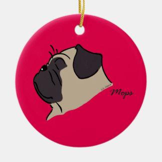 Pug head silhouette ceramic ornament