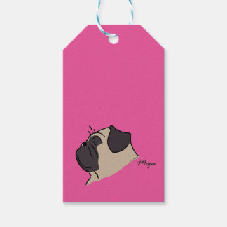 Pug head silhouette gift tags