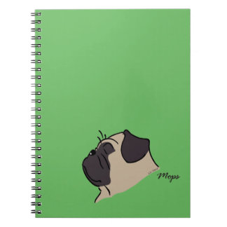 Pug head silhouette notebooks