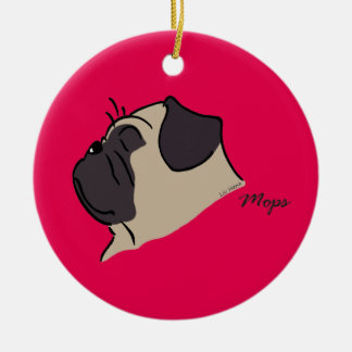 Pug head silhouette round ceramic ornament