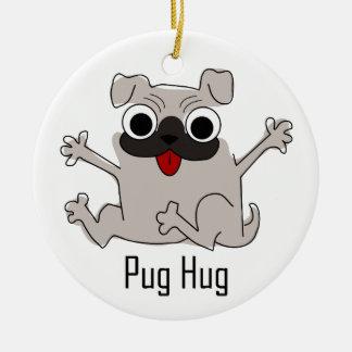 Pug Hug Ceramic Ornament