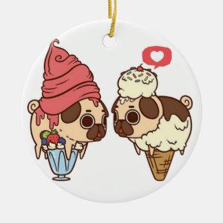 pug_ice_cream.png ceramic ornament